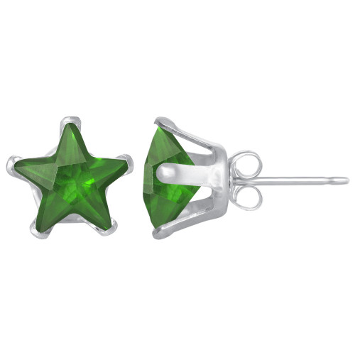 6mm Star Shape Emerald Color CZ Cubic Zirconia May Birthstone Sterling Silver Stud Earrings