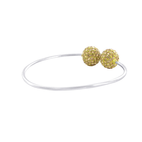 12mm Round Sparkling Yellow 925 Sterling Silver Cuff Bracelet