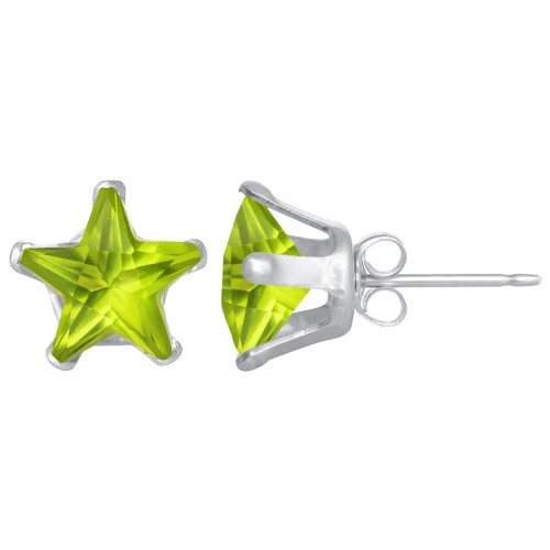7mm Star Shape Peridot Color CZ Cubic Zirconia August Birthstone Sterling Silver Stud Earrings