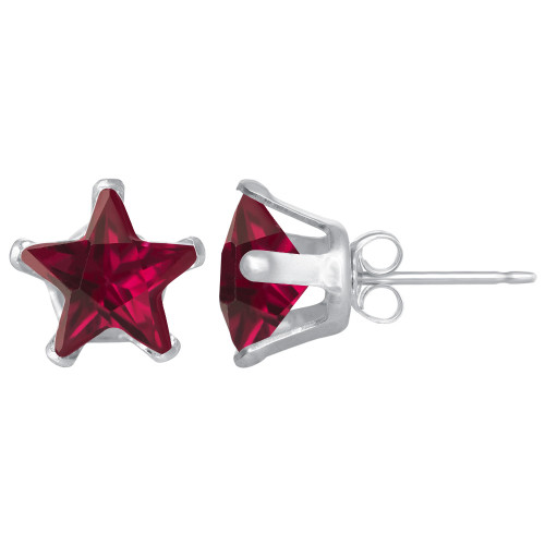 7mm Star Shape Red Color CZ Cubic Zirconia Sterling Silver Stud Earrings