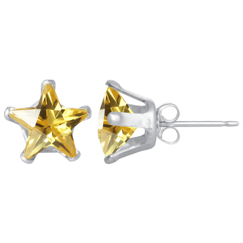 7mm Star Shape Citrine Color CZ Cubic Zirconia November Birthstone Sterling Silver Stud Earrings