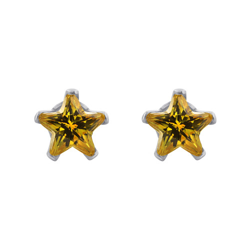 Citrine Color CZ Sterling Silver Stud Earrings