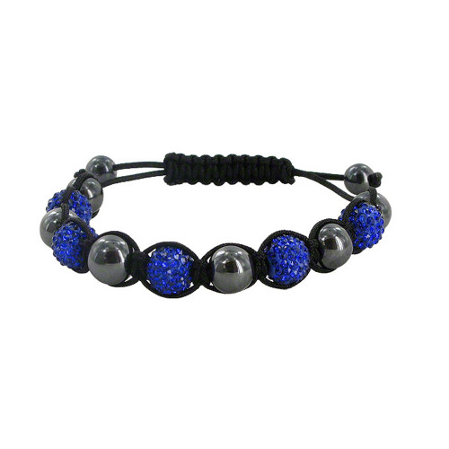 9mm Round Royal Blue Crystal & Simulated Hematite Bracelet