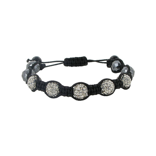 9mm Round Sparkling Clear Crystal & Simulated Hematite Bracelet