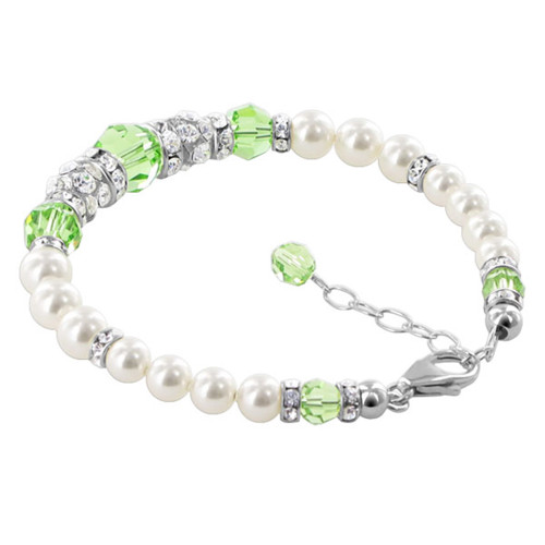 925 Silver White Simulated Pearls With Swarovski Elements Green Crystal 7 to 8.5 inch Bracelet
