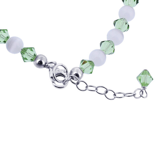 Cats Eye & Green Crystal Sterling Silver Bracelet