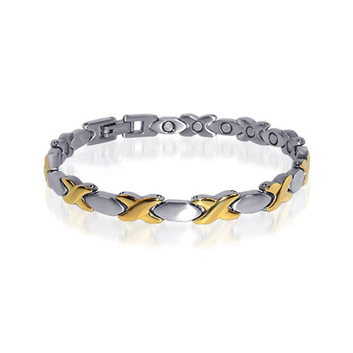 Stainless Steel Hugs & Kisses Magnetic Therapy Bracelet 7.5 inch Long