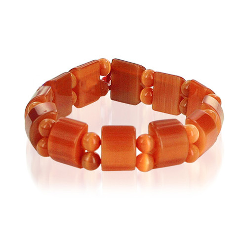 19mm Orange Cats Eye 6 to 7 inch Adjustable Stretchable Bracelet