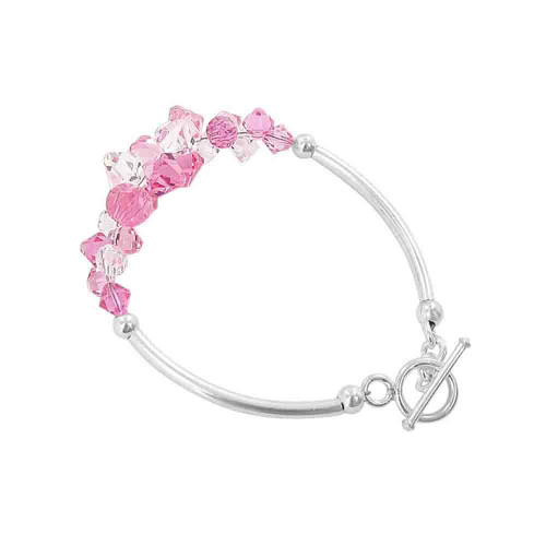 Cluster Style Swarovski Elements Pink and Clear Crystal 7.5 inch Handmade Sterling Silver Bracelet
