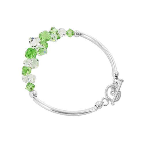 Cluster Style Swarovski Elements Green and Clear Crystal 7.5 inch Handmade Sterling Silver Bracelet