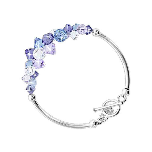 Cluster Style Swarovski Elements Blue and Purple Crystal 7.5 inch Handmade Sterling Silver Bracelet