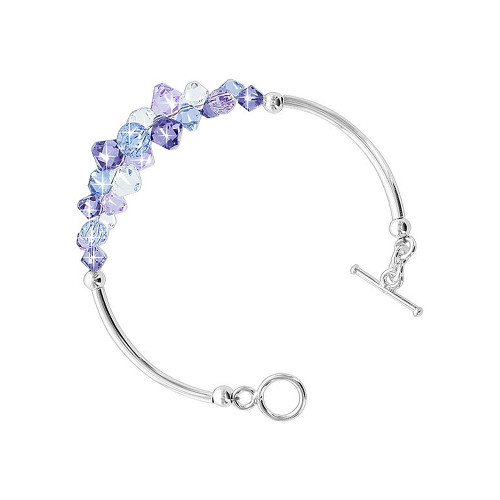 Cluster Style Swarovski Elements Blue & Purple Crystal 7.5 inch Bracelet