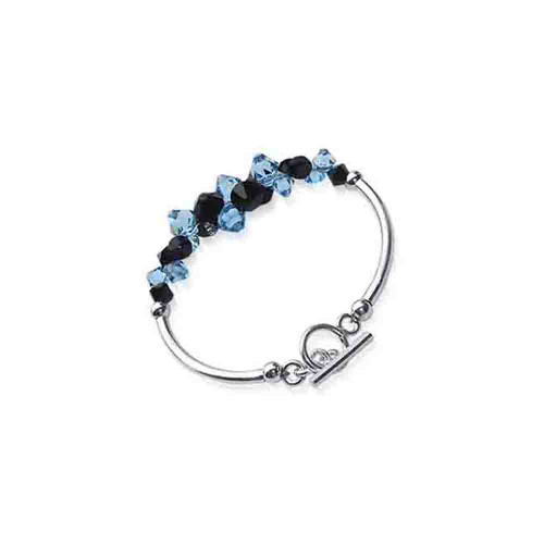 Cluster Swarovski Elements Blue and Black Crystal 7.5 inch Handmade Sterling Silver Bracelet