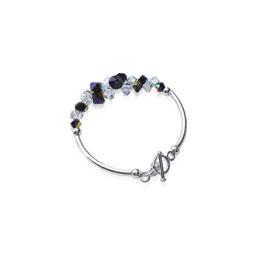 Cluster Style Swarovski Elements Clear and Black Crystal 7.5 inch Handmade Sterling Silver Bracelet
