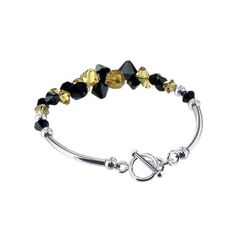 Cluster Style Swarovski Elements Black and Yellow Crystal 7.5 Inch Handmade Sterling Silver Bracelet