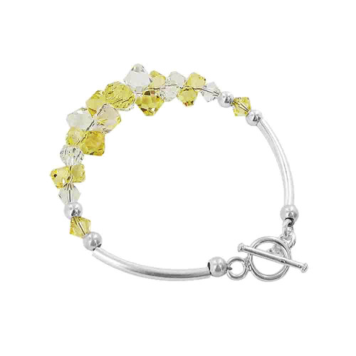 Cluster Style Swarovski Elements Yellow and Clear Crystal 7.5 inch Handmade Sterling Silver Bracelet