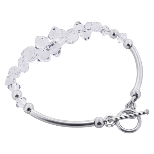 925 Silver Beads Accented Swarovski Clear Crystal Bracelet for Women