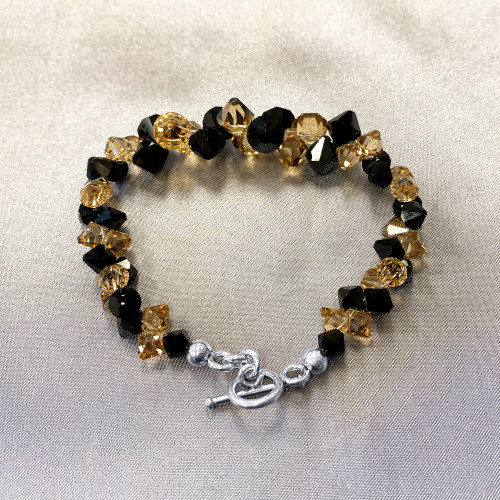 Black and Brown Crystal Sterling Silver Bracelet