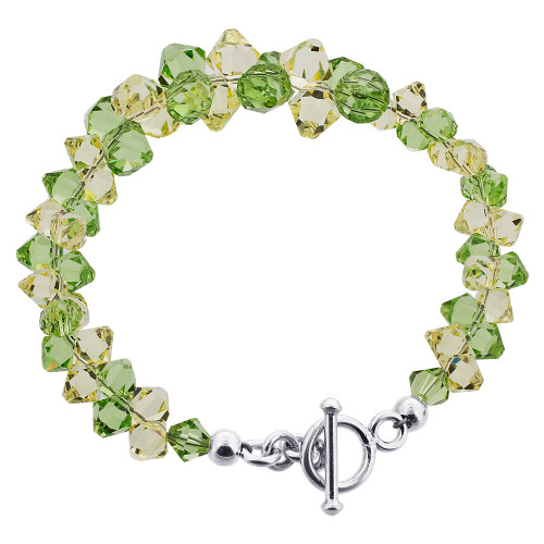 925 Silver Cluster Style Swarovski Green and Yellow Crystal Handmade Bracelet