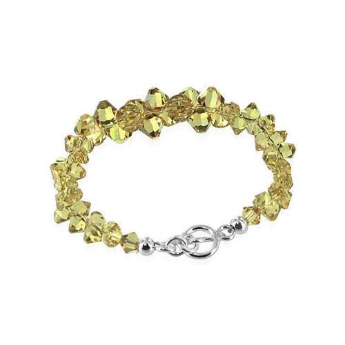 Cluster Style Swarovski Elements Yellow Crystal 7.5 Inch Handmade Sterling Silver Bracelet