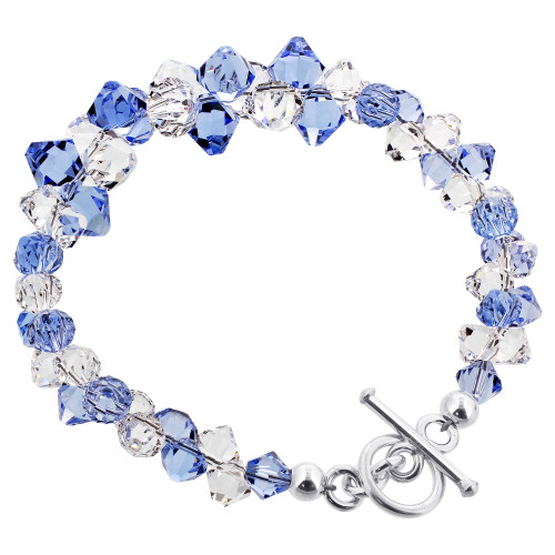 Cluster Style Swarovski Elements Blue and Clear Crystal Handmade Sterling Silver 7.5 inch Bracelet