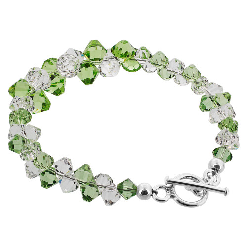 925 Silver Cluster Style Swarovski Clear and Green Crystal Handmade Bracelet
