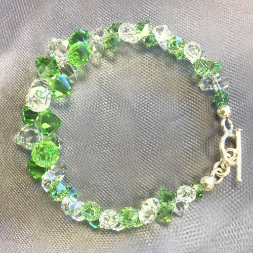 Cluster Style Swarovski Elements Green and Clear Crystal 7.5 inch Bracelet