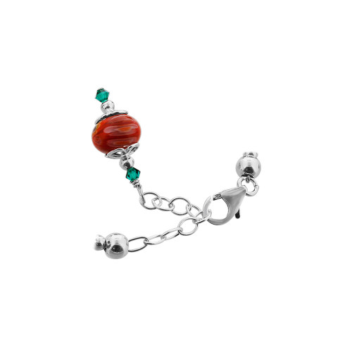Red Millefiori Glass With Crystal 925 Silver Bracelet
