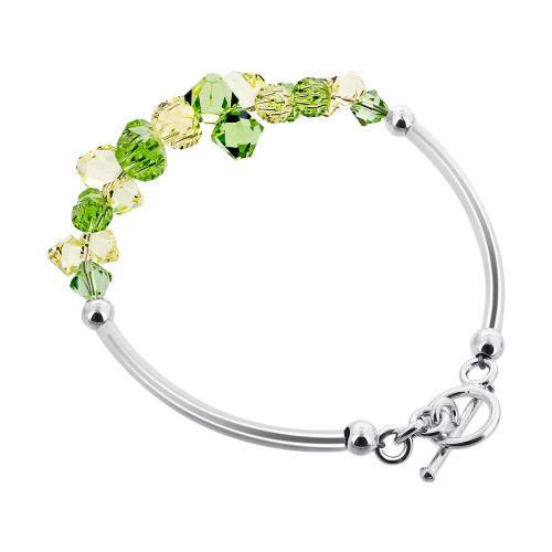 925 Silver Cluster Style Swarovski Yellow and Green Crystal Handmade Bracelet