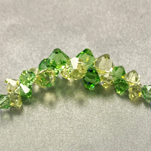 Cluster Style Swarovski Elements Yellow and Green Crystal 7.5 inch Bracelet