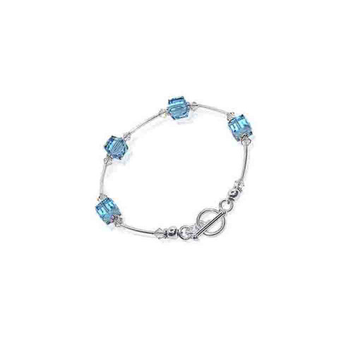 Cube Shaped Swarovski Elements Blue Crystal 7.5 inch Handmade Sterling Silver Bracelet