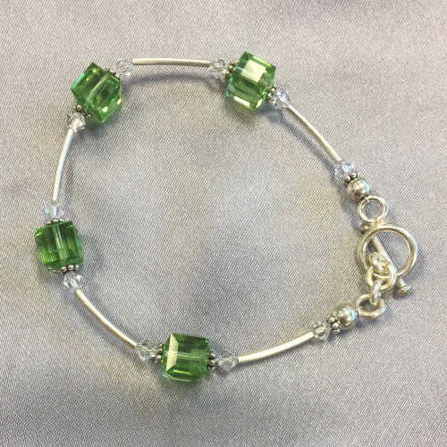Cube Shaped Swarovski Elements Green Crystal 7.5 inch Bracelet