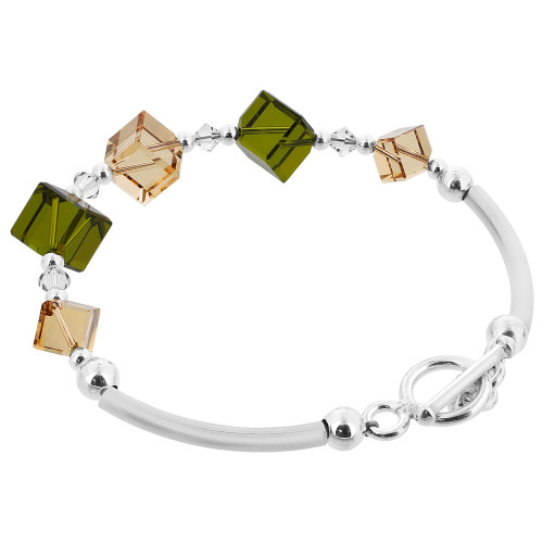 Diagonal Cube Shaped Swarovski Elements Green and Brown Crystal 7 inch Handmade 925 Silver Bracelet