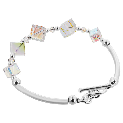 Diagonal Cube Shaped Swarovski Elements Clear Crystal 7 inch Handmade Sterling Silver Bracelet