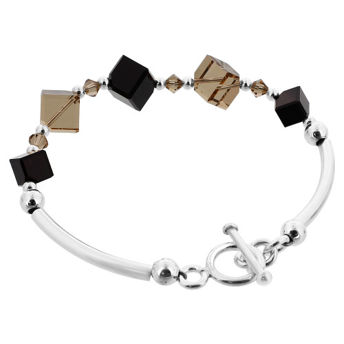 Diagonal Cube Shaped Swarovski Elements Black and Brown Crystal 7 inch Handmade Sterling Silver Bracelet