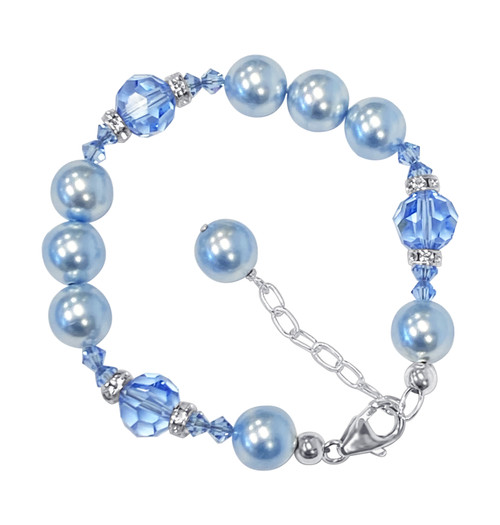 10mm Blue Faux Pearl with Swarovski Elements Crystal 7 to 9 inch Adjustable 925 Sterling Silver Bracelet