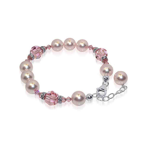 10mm Pink Faux Pearl with Swarovski Elements Crystal 7 to 9 inch Adjustable Sterling Silver Bracelet
