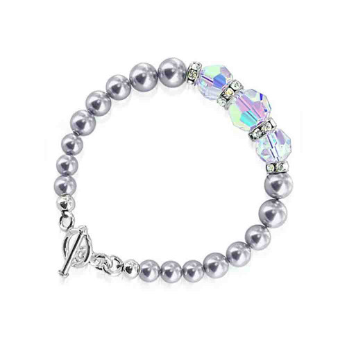 Swarovski Elements Crystals with Faux Pearl 7.5 inch Handmade Sterling Silver Bracelet