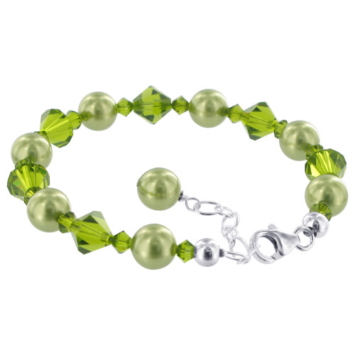 Green 6mm Faux Pearl with Swarovski Elements Crystals 7 inch Handmade Sterling Silver Bracelet