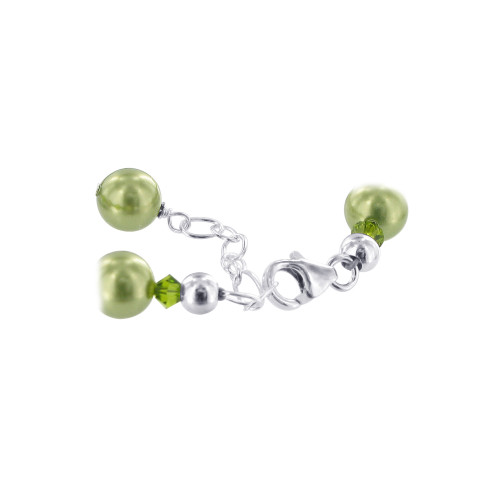 Faux Pearl with Crystals Sterling Silver Bracelet