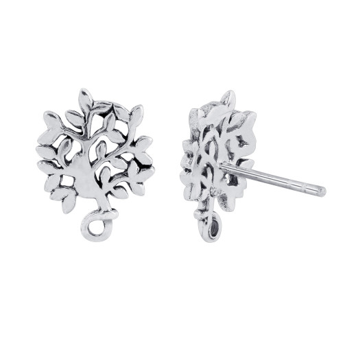 925 Sterling Silver Tree Of Life Post back Stud Earrings
