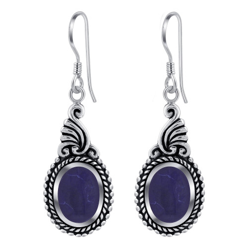925 Sterling Silver Dangle Earrings With Synthetic Sodalite
