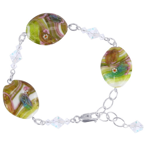 Sterling Silver Millefiori Glass Beads with Swarovski Elements Crystal 7-8.5 Inch Adjustable Bracelet for Women