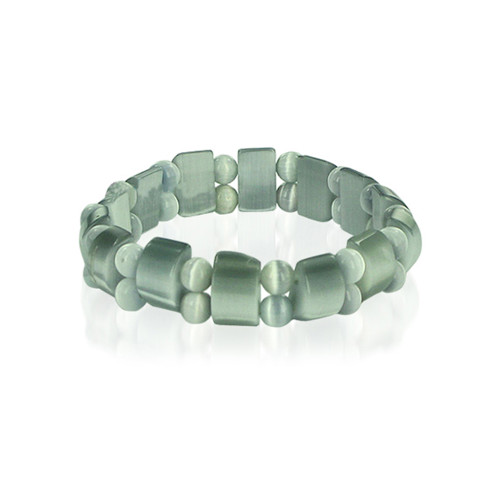 19mm Green Cats Eye 6 to 7 inch Adjustable Stretchable Bracelet
