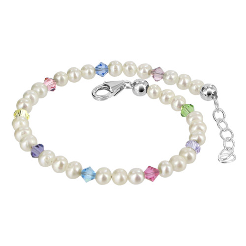 Sterling Silver Freshwater Pearl with Swarovski Elements Crystal 7 to 8 inch Adjustable Bracelet for Women
