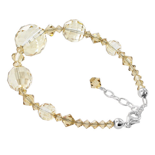 Round Shaped Swarovski Elements Yellow Crystal 925 Silver Round 7 - 8.5 Inch Adjustable Bracelet