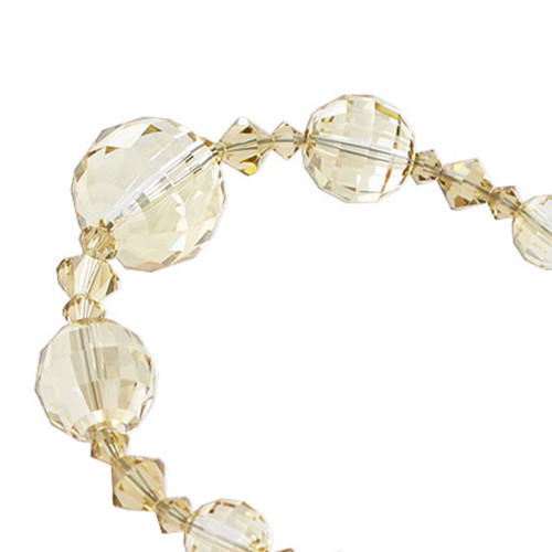 Round Shaped Swarovski Elements Yellow Crystal Sterling Silver Round Bracelet