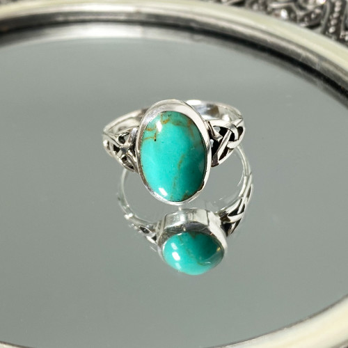925 Silver Celtic Ring with Synthetic Turquoise