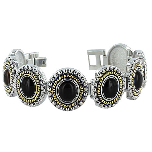 Black Onyx Oval Magnetic Therapy Link Bracelet 7.25 inch Long x 21mm wide with Fold over Clasp