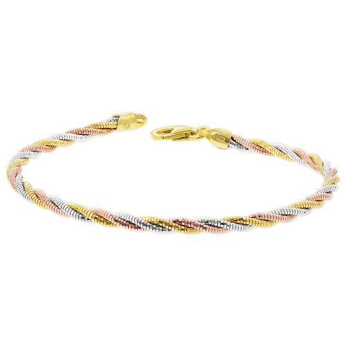 Sterling Silver 3 Tone Twisted Rope Chain 7.5 Inch Bracelet with Lobster Clasp